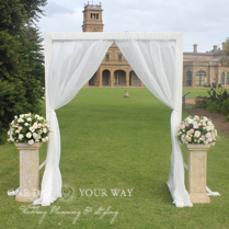 Ceremony furniture and decor wedding stylist melbourne event wooden 2 post arch with draping junglespirit Images